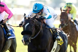 Midnight Storm and jockey Rafael Bejarano win the Grade I, Shoemaker Mile, Saturday, June 4, 2016 at Santa Anita.