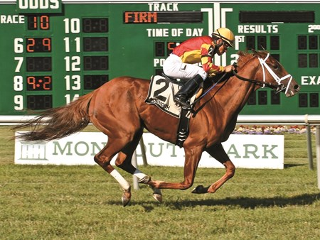 Isabella Sings #2 with Paco Lopez  riding won the $100,000 Eatontown Stakes at Monmouth Park in Oceanport, New Jersey on Saturday June 25, 2016. Photo By Ryan Denver/EQUI-PHOTO