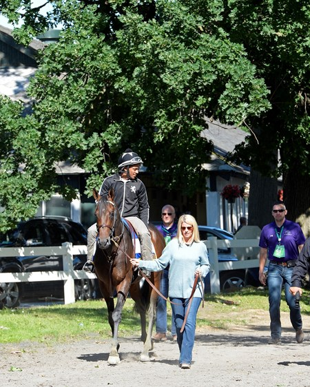 Julie Clark leads Exaggerator with Peedy Landry up back to the barn on June 10, 2016