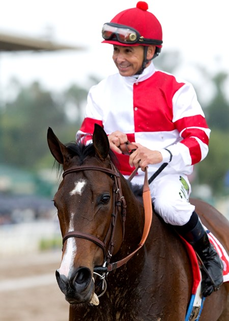 Fox Hill Farms' Songbird and jockey Mike Smith win the $400,000 Santa Anita Oaks (gr. I) on Saturday, April 9, 2016 at Santa Anita Park, Arcadia, CA.