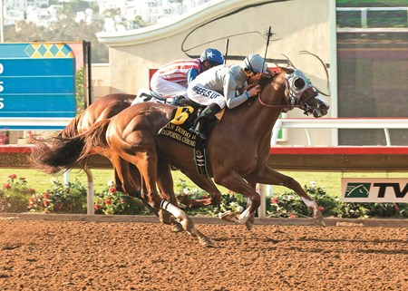 California Chrome and jockey Victor Espinoza, left, hold off a persistant Dortmund (Gary Stevens up), to win the Grade II $200,000 San Diego Handicap Saturday, July 23, 2016 at the Del Mar Thoroughbred Club, Del Mar, CA. ©Benoit California Chrome and jockey Victor Espinoza, outside, hold off a persistant Dortmund (Gary Stevens up), to win the Grade II $200,000 San Diego Handicap Saturday, July 23, 2016 at the Del Mar Thoroughbred Club, Del Mar, CA. ©Benoit Photo