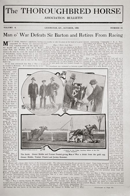 The Thoroughbred Horse. October 1920. Man O' War defeats Sir Barton and retires from racing