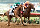 Stellar Wind (outside) edges Beholder in the Clement L. Hirsch Stakes