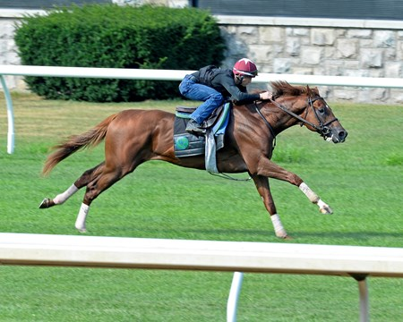 Surgical Strike with James Graham worked in 1:05 and finished well; Keeneland - July 27, 2016.