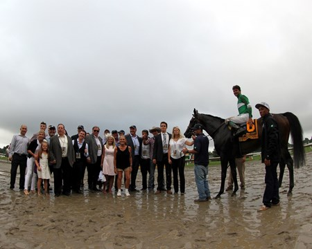 The winners' circle after Exaggerator won the 49th Running of the Haskell Invitational at Monmouth Park on July 31, 2016.
