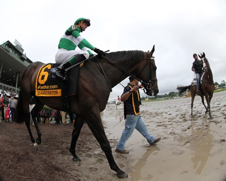 Exaggerator, with Kent Desormeaux, wins the 49th Running of The Haskell Invitational (gr. I) at Monmouth Park on July 31, 2016.