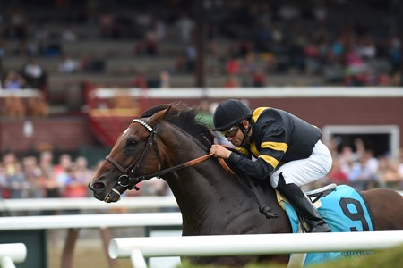 Long On Value wins the Lucky Coin Stakes at Saratoga July 25, 2016.