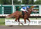 Nik Juarez guides Res Judicata to an easy win in the Salvator Mile July 2 at Monmouth Park.