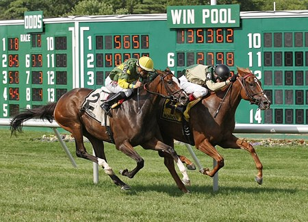Tin Type Gal #4 (R) with Trevor McCarthy riding outdueled Galileo's Song #2 (L) and Joe Bravo to win the $100,000 Boiling Springs Stakes