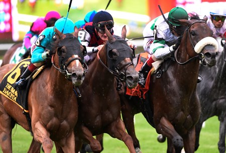 Dacita with jockey Irad Ortiz Jr. in the saddle, left wins in a thrilling finish the 78th running of The Diana Saturday July 23, 2016 at Saratoga Race Course.