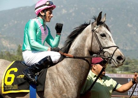 Jockey Christopher DeCarlo guides Tuttipaesi to the winner's circle after their victory in the Grade II, $200,000 Santa Ana Stakes, Saturday, March 26, 2016.
