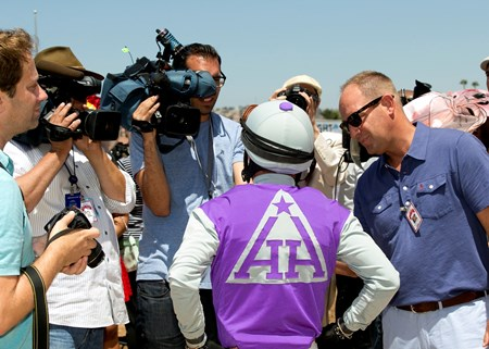 The Del Mar Thoroughbred Club kicked off it's annual summer season  Friday,  July 15, 2016. Winning jockey Santiago Gonzalez faces reporters after winning the first race of the meet aboard Accelerant.