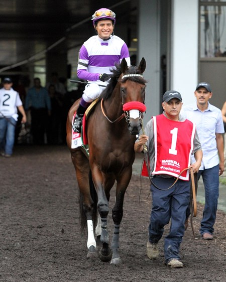 Nyquist with Mario Gutierrez heading to the track prior to the 49th Running of The Haskell Invitational at Monmouth Park on July 31, 2016.