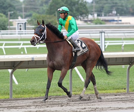 Genre, #2 with Paco Lopez riding, won the $100,000 Grade III Molly Pitcher at Monmouth Park on Sunday July 31, 2016.