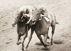 Carry Back, outside, duels with Crozier in the 1961 Flamingo Stakes
