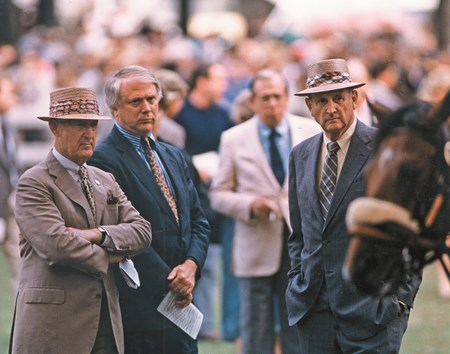 Paul Mellon and Mack Miller with Crusader Sword's head in foreground prior to the Hopeful Stakes, 1987
