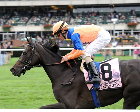 Stacelita wins the 2011 Flower Bowl at Belmont Park.