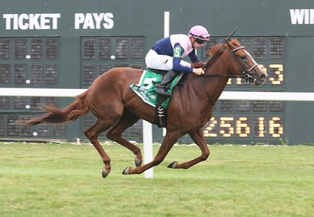 Zipessa #5, ridden by Florent Geroux won the $200,000 Grade III Dr. James Penny Memorial at Parx Racing in Bensalem, Pennsylvania.