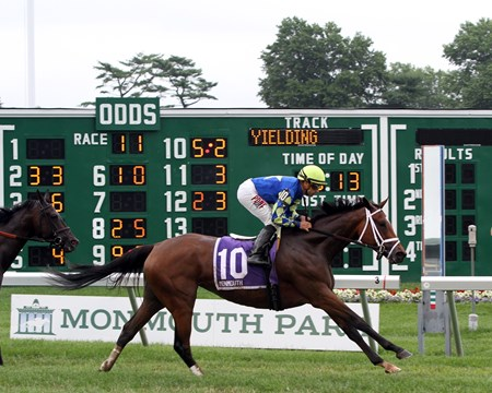 Itsonlyactingdad, with Joe Bravo, win the 51st Running of the Matchmaker Stakes at Monmouth Park on July 31, 2016.