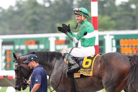 Jockey Kent Desormeaux claps after winning the $1,000,000 Grade 1 betfair.com Haskell Invitational at Monmouth Park in Oceanport, New Jersey aboard Exaggerator on Sunday July 31, 2016.
