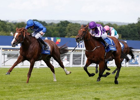 Hawkbill and William Buick win the Coral-Eclipse (British Champions Series) trained by Charlie Appleby for Godolphin in second The Gurkha and Ryan Moore