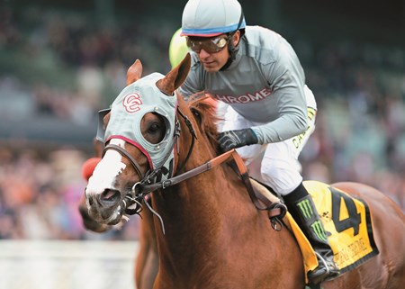 California Chrome and jockey Victor Espinoza win the Grade II, $200,000 San Pasqual Stakes, Saturday, January 9, 2016 at Santa Anita Park, Arcadia CA.
