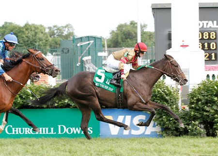 Nelson McMakin's Hot Cha Cha, ridden by James Graham and trained by Phil Sims, held off defending champion Acoma by a three-quarters of a length to win the 34th running of the $110,800 Early Times Mint Julep (Grade III) for fillies and mares at Churchill Downs on Saturday, June 5, 2010.