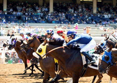 The Del Mar Thoroughbred Club kicked off it's annual summer season  Friday,  July 15, 2016. Accelerant and jockey Santiago Gonzalez won the first race of the meet