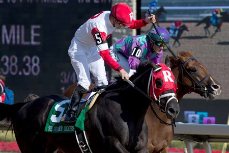 Jockey Julien Leparoux guides Sir Dudley Digges to capture the 157th running of the $1,000,000 Queen's Plate Stakes at Woodbine Racetrack July 3, 2016.