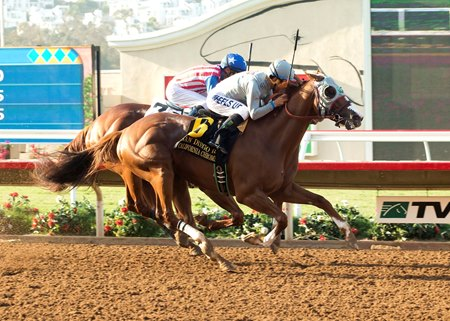 California Chrome fights off Dortmund to win the San Diego.
