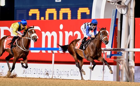 Polar River wins the 2016 UAE Oaks at Meydan Racecourse