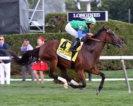 Lady Lara wins the 2016 Fasig-Tipton De La Rose Stakes.