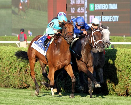 Lady Eli (#3) with Irad Ortiz Jr. finish second to Strike Charmer in the 28th Running of the Ballston Spa (GII) at Saratoga on August 27, 2016.