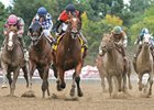 A.P. Indian (center) wins Alfred G. Vanderbilt July 30 at Saratoga