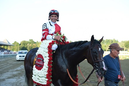Songbird and jockey Mike Smith after her win in the Alabama Stakes (gr. I)