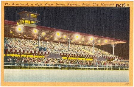 The grandstand, at night, Ocean Downs Raceway, Ocean City, Maryland between circa 1930 and circa 1945 Boston Public Library Tichnor Brothers collection