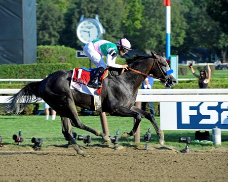 Arrogate with Mike Smith wins the Travers Stakes  (gr. I) on Aug. 27, 2016, in Saratoga Springs, N.Y.