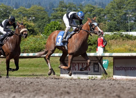 Snuggles winning the British Columbia Dogwood H. at Hasting's racecourse on August 1st, 2016