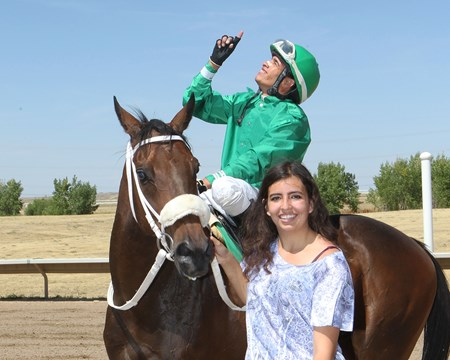 Gins And Giggles wins Norman White Distance Classic at Arapahoe Park Aug. 14, 2016.