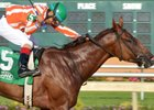 Apprentice jockey Ramon Romero wins his first race aboard Lisa's Cat Nap Aug. 27 at Indiana Grand