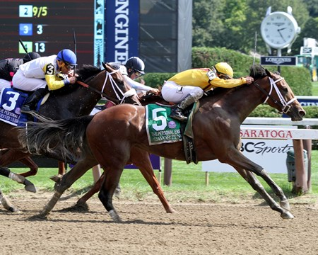 Cavorting (#5) with Javier Castellano win the 69th Running of the Personal Ensign (GI) at Saratoga on August 27, 2016.