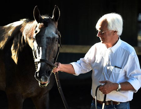 Trainer Bob Baffert has a quiet moment with Travers Stakes winner Arrogate Sunday morning in the barn area at the Saratoga Race Course August 28, 2016 in Saratoga Springs, N.Y.