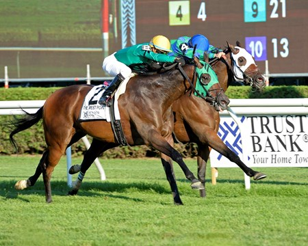 King Kreesa #2 with Jose Ortiz on Aug. 26, 2016, wins the West Point Stakes in Saratoga Springs, N.Y. #4 Kharafa in second.