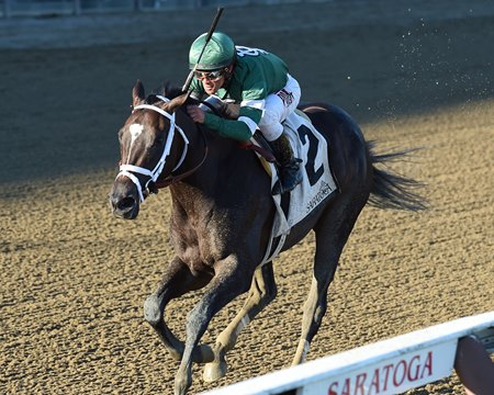Nonna Mela wins the 2016 Adirondack Stakes