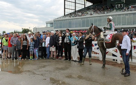 Inside Straight wins 68th Manitoba Derby today at ASD for Randy Howg. Trainer Robertino Diodoro. Scott Stevens up.
