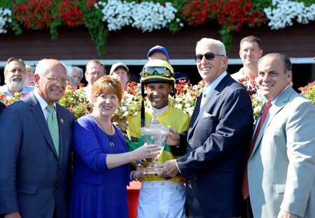 r-l, Gary Sciacca and owner Bill Parcells Hit it Once More with Kendrick Carmouche wins the Albany Stakes on Aug. 26, 2016, in Saratoga Springs, N.Y.
