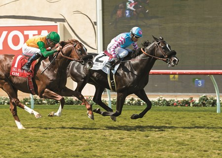 Midnight Storm and jockey Rafael Bejarano, right, overpower Om (Gary Stevens), left, to win the Grade II, $200,000 Del Mar Mile, Sunday, August 21, 2016 at Del Mar Thoroughbred Club, Del Mar CA. © BENOIT PHOTO