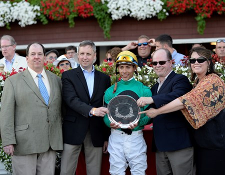 PRES, l-r, David Donk, presenter, Jose Ortiz, owners Gerald and Susan Kreesa. King Kreesa with Jose Ortiz wins the West Point Stakes on Aug. 26, 2016, in Saratoga Springs, N.Y.