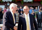 Chad Brown (right) with Juddmonte Farm's John Chandler after Flintshire's Sword Dancer win