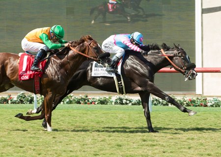 Midnight Storm wins the Del Mar Mile